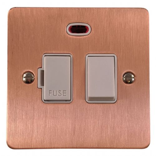 G&H FRG27W Flat Plate Rose Gold 1 Gang Fused Spur 13A Switched & Neon